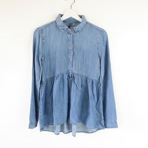 American Eagle Outfitters Blue Chambray  Blouse